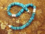 Navajo  Turquoise Sterling Silver Necklace Signed DI