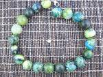 Click to view larger image of Necklace Crysocolla  Beads  19 Inch Blue Green Gold Mos (Image2)