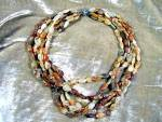 Agate Rock 6 Strand Necklace Sterling Silver Clasp