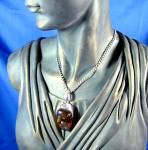 Click to view larger image of Sterling Silver Honey Amber Pendant 24Inch  Chain Italy (Image6)