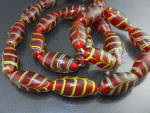 Glass Beads Necklace Red Gold Black 28 Inch 40s