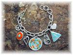 Click to view larger image of Bracelet Sterling Silver Charms Inlay  A.J. Toggle (Image2)
