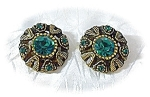 Heavy Goldtone & Emerald Glass Clip Earrings