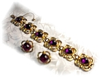 Click here to enlarge image and see more about item 718200307: Bracelet Sterling Silver Gold Vermeil Garnet & Ears