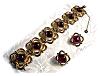 Click to view larger image of Bracelet Sterling Silver Gold Vermeil Garnet & Ears (Image2)