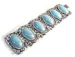 Click here to enlarge image and see more about item 718200314: Silvertone Lucite Turquoise KARU Bracelet