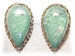 Lucite Clip Earrings Teardrop Shaped Green