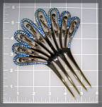 Tortoise and Blue Crystal Hair Comb Antique