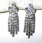 Silver Rhodium Crystal Chandelier Clip Earrings