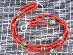 Coral and Turquoise 3 Strand Necklace Silver Clasp