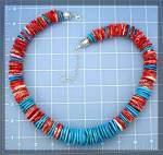 Click to view larger image of American Indian Spiny Oyster Turquoise Necklace (Image5)