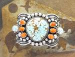 Click to view larger image of Navajo Sterling Silver Turquoise Coral D. CADMAN Cuff (Image6)