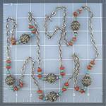 Click to view larger image of Silver Turquoise Carnelian Color Glass bead Necklace (Image3)