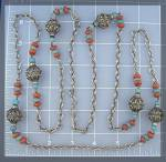 Click to view larger image of Silver Turquoise Carnelian Color Glass bead Necklace (Image4)
