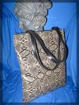 Click to view larger image of CHICO'S  Black Tan Tote Bag Leather Handle (Image2)