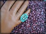 Click to view larger image of ELSIE YAZZIE Sterling Silver Turquoise Am Indian Ring (Image3)