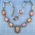 Click to view larger image of Necklace & EarringsTaxco Mexico Sterling Silver Opal   (Image1)