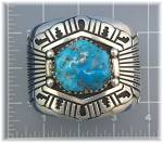 Click to view larger image of TOMMY SINGER Turquoise Sterling Silver Cuff USA (Image1)