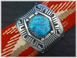Click to view larger image of TOMMY SINGER Turquoise Sterling Silver Cuff USA (Image3)