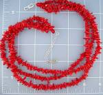 Sterling Silver Coral  3 Strand Necklace  EXEX