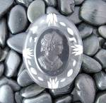Cameo bakelite lucite Brooch Black and Clear