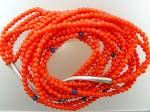 Native American Coral 4 Strands Sterling Silver Necklac
