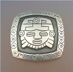 Click to view larger image of Brooch LOS BALLESTEROS Aztec Face Mexico (Image1)