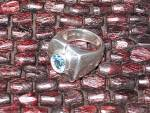 Click to view larger image of Sterling Silver Blue Topaz Ring Esposie (Image7)
