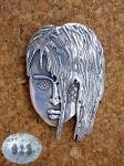 Click to view larger image of Sterling Silver Face Handmade Artist Brooch Pin (Image1)