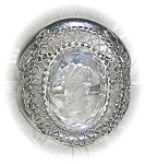 Click here to enlarge image and see more about item BH49: Cameo Whiting Davis Glass Silver Bracelet