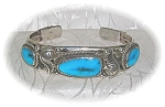 Click to view larger image of Bracelet Silver Turquoise American Indian Signed W (Image1)