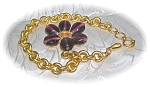 Click here to enlarge image and see more about item BH96: Signed Goldtone & Glass Link Brcelet