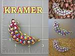 Vintage Brooch, KRAMER, cranberry crystals
