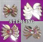 Sterling Silver brooch Amethyst Glass Vintage