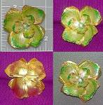 Click here to enlarge image and see more about item C0212200911: Vintage enamel Flower brooch pin