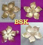 Vintage BSK flower brooch pin in silvertone