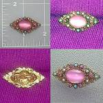Filigree brooch pin pink turquoise pearl cabochon