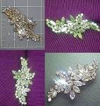 Crystal brooch pin marquise and rounds Vintage