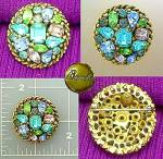 Barda brooch pin with blue green violet crystals
