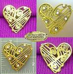 Gold Heart Brooch Faux Pearls Berebi