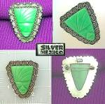 Mecico Sterling Silver Green Glass Brooch