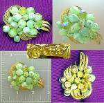 Vintage CORO brooch pin in goldtone and greens