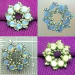 Crystals Glass Moonstone Silver Tone Brooch 60s