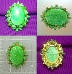 Vintage green glass brooch pin