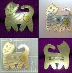 Vintage cat brooch pin