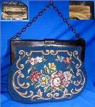 Needlepoint Handbag Lucite Frame & Link Handle