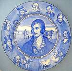 Click here to enlarge image and see more about item C09280802: Royal Doulton Commemorative, Robert Burns, Blue & White