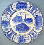 Staffordshire Flow Blue YMCA plate - F. Winkel & Co