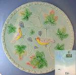Click here to enlarge image and see more about item C1011200803: Majolica Grapes Leaves  Birds Plate Western Germany