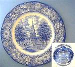 Click here to enlarge image and see more about item C1011200818: Staffordshire Liberty Blue - Independence Hall plate